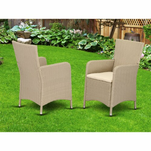 Set of 2 Chairs HLUC153V Outdoor-Furniture Wicker Patio Chair in Cream Finish Perspective: back