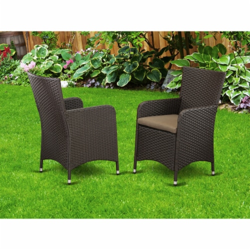 Set of 2 Chairs HLUC163S Outdoor-Furniture Wicker Patio Chair in Dark Brown Finish Perspective: back