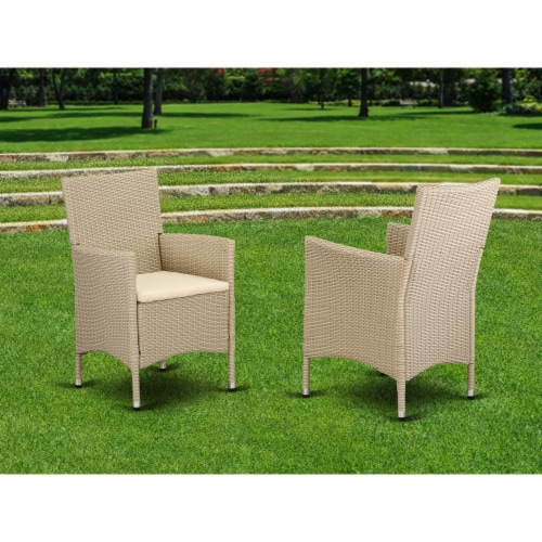 Set of 2 Chairs HVLC153V Outdoor-Furniture Wicker Patio Chair in Cream Finish Perspective: back