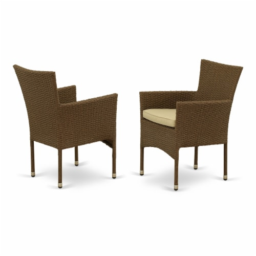 GUBK7-02A 7Pc Outdoor-Furniture Brown Wicker Dining Set Perspective: back