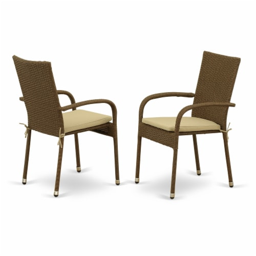 GUGU5-02A 5Pc Outdoor-Furniture Brown Wicker Dining Set Perspective: back