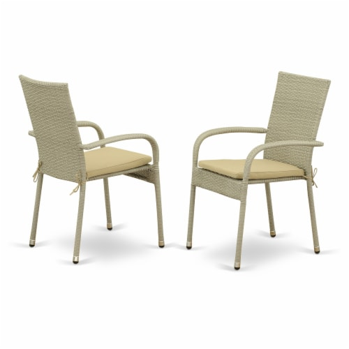 JUGU5-03A 5Pc Outdoor-Furniture Natural Color Wicker Dining Set Perspective: back