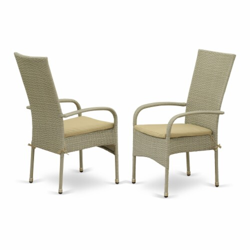 JUOS7-03A 7Pc Outdoor-Furniture Natural Color Wicker Dining Set Perspective: back