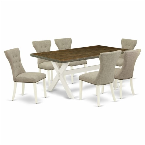 East West Furniture X-Style 7-piece Wood Dining Table Set in Linen White/Doeskin Perspective: back