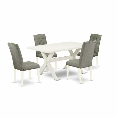 3-Pc Wood Dinette Set2 Chairs and Rectangular Table - Linen White Perspective: back