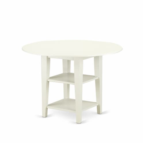 A dinette set of two indoor Chairs with Baby Blue, & a drop leaf  table Perspective: back