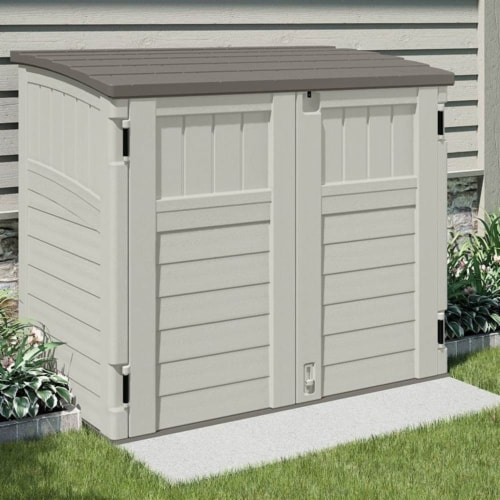 Suncast 34 CU Durable Resin Horizontal Storage Shed w/ Reinforced Floor (2 Pack) Perspective: back