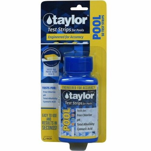 Taylor S-1331 50 Chlorine, pH, Alkalinity, Cyanuric Acid Pool Testing Strips Perspective: back