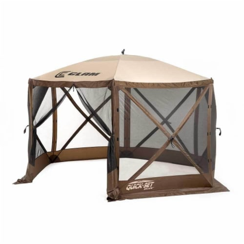Clam Quick Set Escape Portable Camping Outdoor Gazebo Canopy, Brown/Tan (2 Pack) Perspective: back