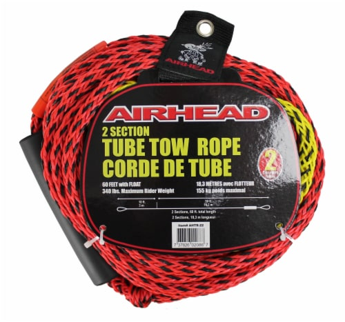 Airhead Tube Rope 2 Section w/ Floater 2 Rider Towable Lake Boat Water (6 Pack) Perspective: back