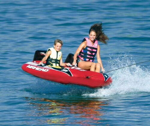 AIRHEAD Viper 2 Double Rider Cockpit Inflatable Towable Lake Water Tube (2 Pack) Perspective: back