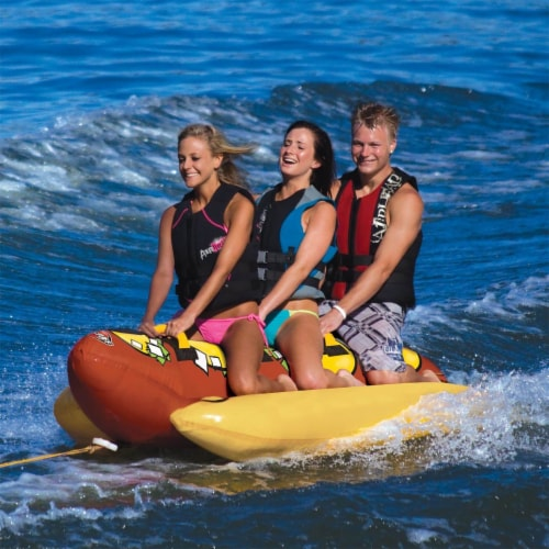 Sportsstuff Hot Dog 3 Person Inflatable Boat Lake Water Towable Tube (2 Pack) Perspective: back