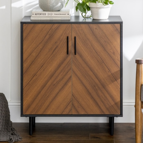 28  Modern Bookmatch Accent Cabinet - Solid Black Perspective: back