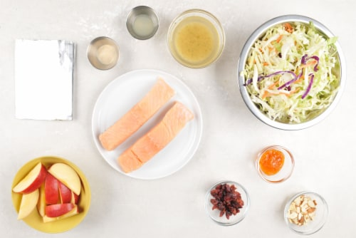 Home Chef Oven Kit Grilled Peach and Almond Glazed Salmon with Cabbage Apple and Cranberry Slaw Perspective: back