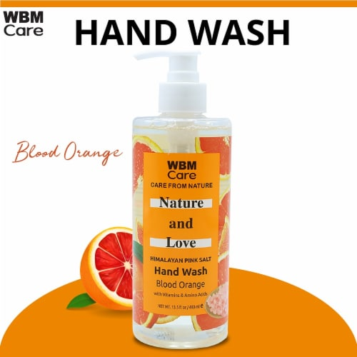 WBM Care Hand Soap, Love & Nature Soap with Blood Orange Extracts - Pack of 3/13.5 Oz Each Perspective: back