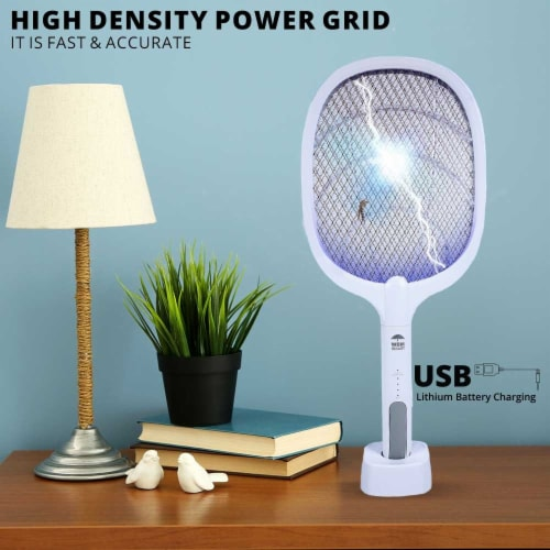 WBM Smart Bug Zapper, Electric Fly Swatter & Lamp, USB Rechargeable, 3-Layer Safety Mesh Perspective: back