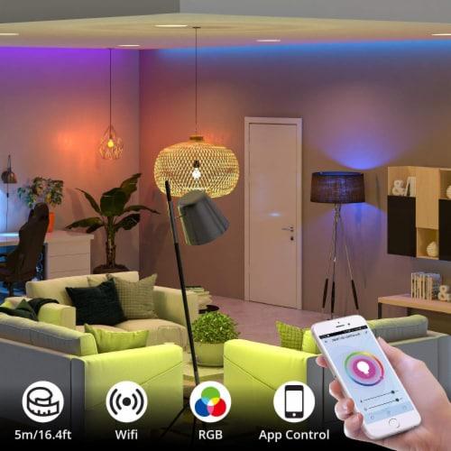WBM Smart RGB LED Strip Lights, App Controlled for Home & Outdoor Decoration | 16 ft /1 Strip Perspective: back
