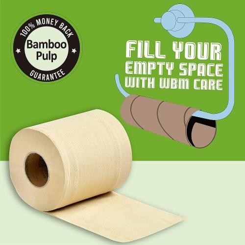 WBM Care Toilet Paper, Ultra Soft Bamboo 3-ply 100% Natural, 200 Sheets/Roll | 30 Roll Perspective: back