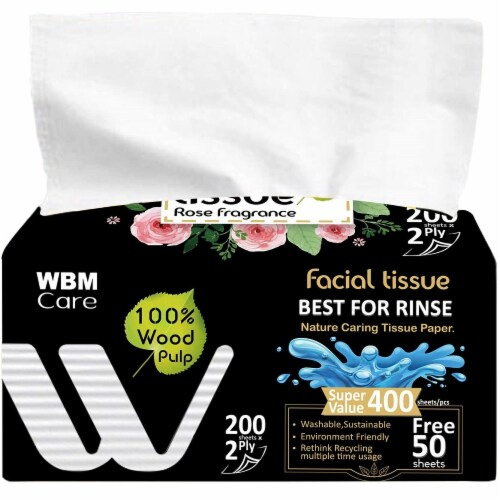 WBM Care Facial Tissue, Strong & Soft with Rose Fragrance, 2-Ply 200-Sheets/Box, Pack of 12 Perspective: back