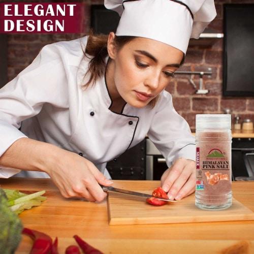 Himalayan Chef Salt & Pepper, Fine Salt, Black Pepper Glass Shaker, Kosher & Vegan – Set of 2 Perspective: back