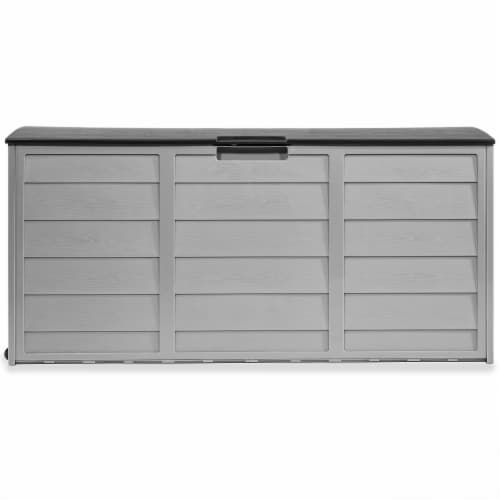 All Weather Outdoor Patio Deck Box Storage Shed Bin w/ Wheel Perspective: back