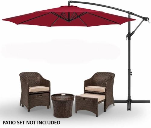 10' ft Outdoor Market Patio Umbrella Hanging Sun Shade Offset Crank Tilt Perspective: back