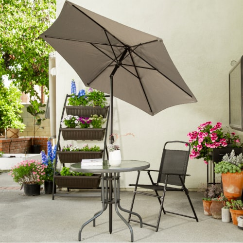 6pcs Dining Set Patio Outdoor Set w/ Table Umbrella 4 Folding Chairs Table Perspective: back
