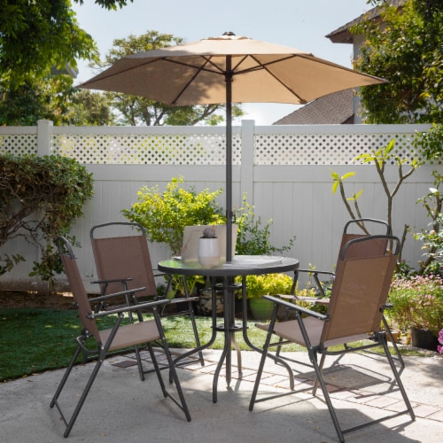 6pcs Outdoor Dining Patio Set with Table Umbrella, 4-Folding Chairs Perspective: back