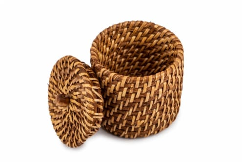 Core Home Small Rattan Canister Perspective: back