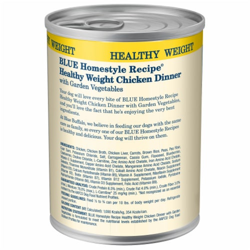 Blue Buffalo Homestyle Recipes Healthy Weight Chicken with Garden Vegetables Wet Dog Food Perspective: back
