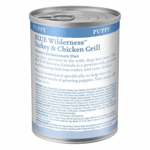 Blue Wilderness Puppy Turkey & Chicken Grill Wet Dog Food Perspective: back