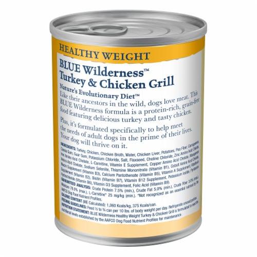 Blue Wilderness Turkey & Chicken Grill Healthy Weight Wet Dog Food Perspective: back