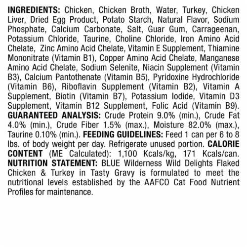 Blue Buffalo Wilderness Wild Delights Flaked Chicken & Turkey Wet Cat Food Perspective: back