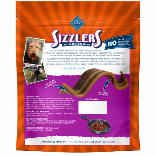 Blue Buffalo Sizzlers Original Bacon Style Dog Treats Perspective: back