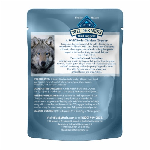 Blue Wilderness Trail Toppers Wild Cuts Chunky Chicken Bites Wet Dog Food Perspective: back