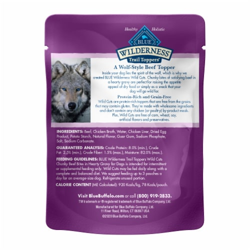Blue Wilderness Trail Toppers Wild Cuts Chunky Beef Bites Wet Dog Food Perspective: back