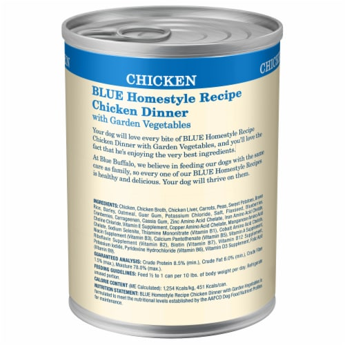 Blue Buffalo Chicken Dinner Homestyle Recipe Natural Dog Food Perspective: back