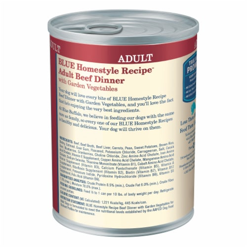 Blue Buffalo Beef Dinner Homestyle Recipe Natural Wet Dog Food Perspective: back