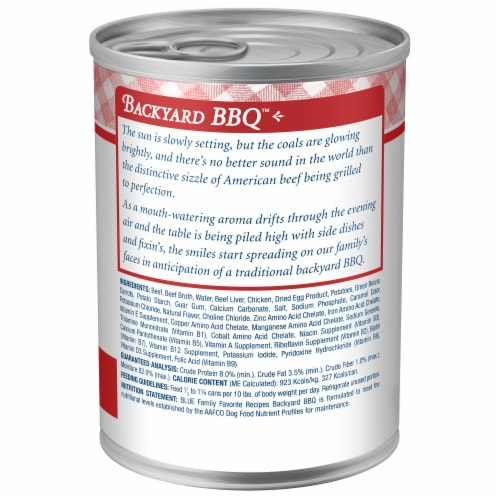 Blue Buffalo Family Favorite Recipes Backyard BBQ Dinner Wet Dog Food Perspective: back