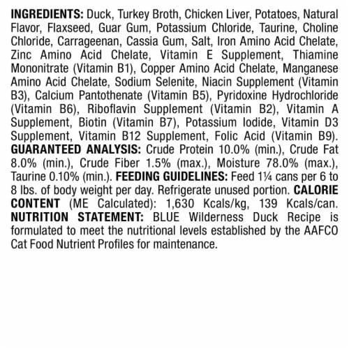 Blue Wilderness Duck Recipe Adult Wet Cat Food Perspective: back