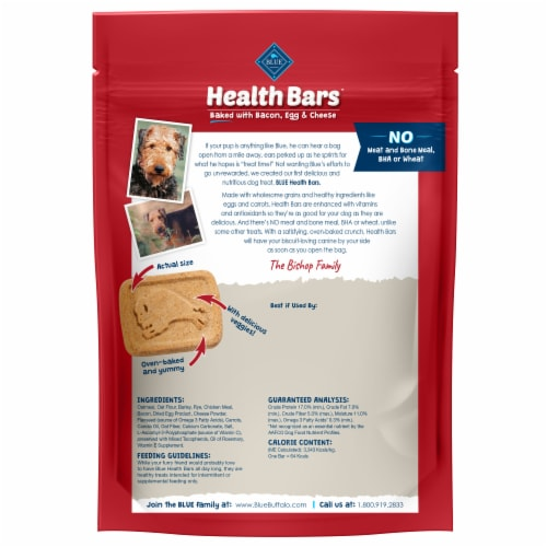 Blue Buffalo Health Bars Bacon Egg & Cheese Natural Dog Biscuits Perspective: back