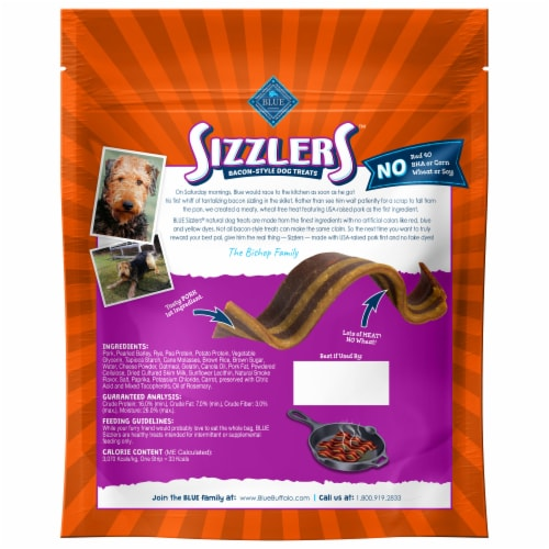 Blue Buffalo Sizzlers Cheddar Bacon Style Dog Treats Perspective: back