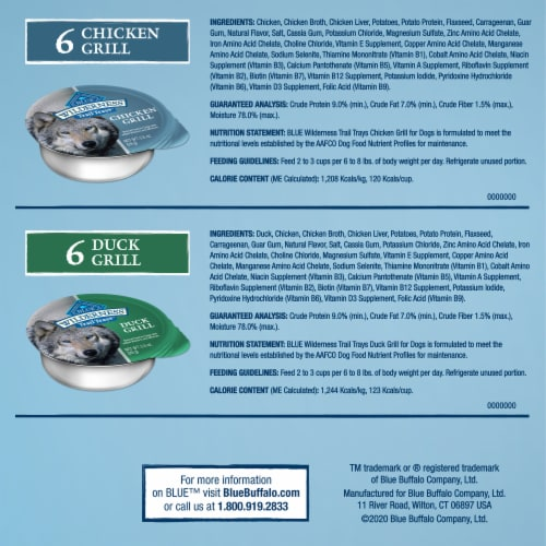 Blue Wilderness Duck and Chicken Wet Dog Food Variety Pack Perspective: back