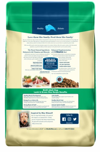 Blue Buffalo Adult Dog Lamb and Brown Rice Recipe Perspective: back