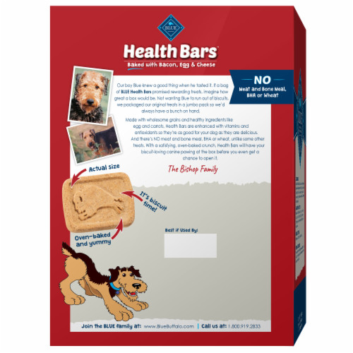 Blue Buffalo Health Bars Bacon Egg & Cheese Dog Biscuits Perspective: back