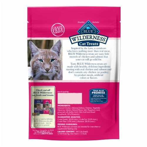 Blue Buffalo Wilderness Grain Free Chicken & Salmon Recipe Soft-Moist Cat Treats Perspective: back