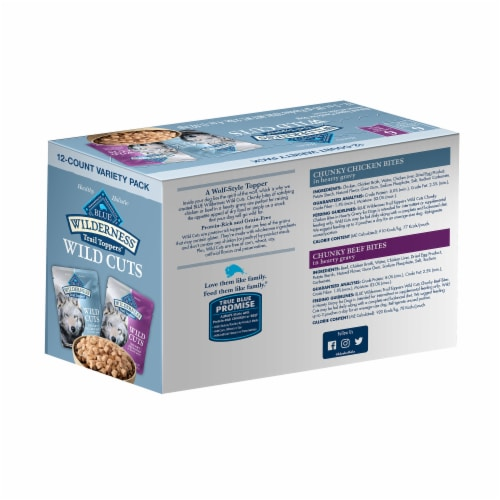 Blue Buffalo Wilderness Trail Toppers Wild Cuts Natural Wet Dog Food Topper Variety Pack Perspective: back