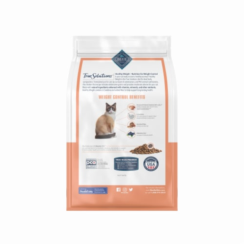 Blue Buffalo True Solutions Fit & Healthy Chicken Weight Control Formula Adult Dry Cat Food Perspective: back