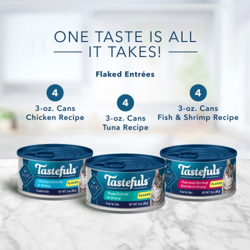 Blue Buffalo Tastefuls Tuna Chicken Fish & Shrimp Natural Flaked Wet Cat Food Variety Pack Perspective: back