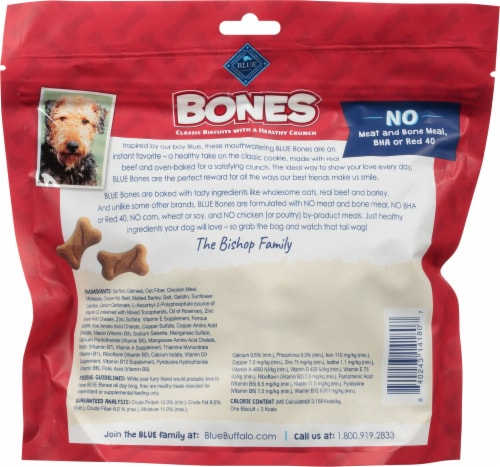Blue Buffalo Bones Beef Flavored Mini Dog Biscuits Perspective: back